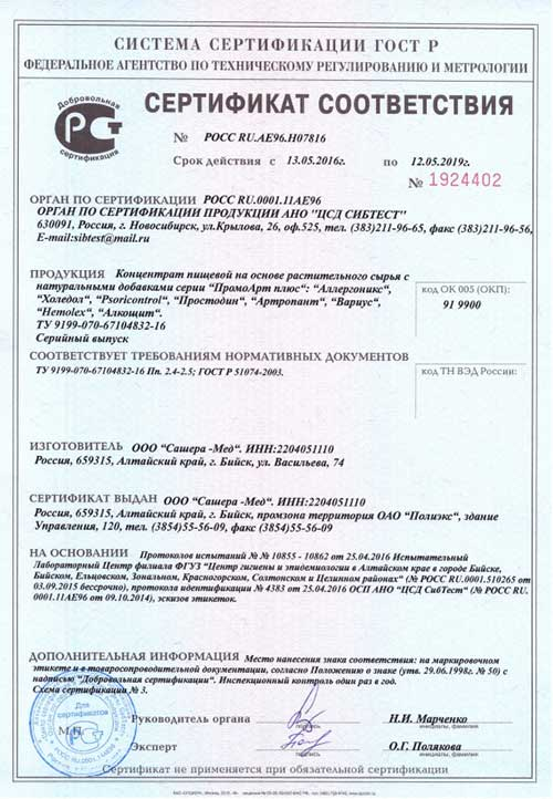 Артропант крем сертификат