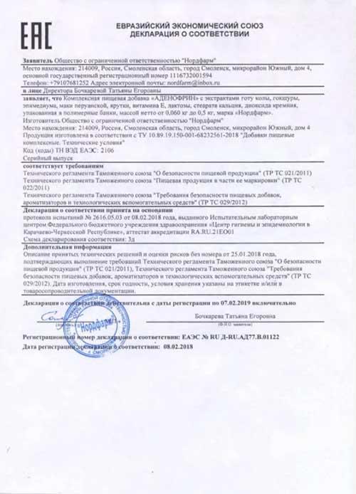 Аденофрин сертификат соответствия